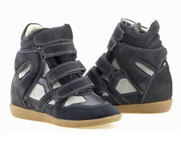 2019 Haut Femmes Chaussures Crochet Boucle Femmes En Cuir Véritable Talon Lifed Baskets Casual Cheville Bottes Femmes Compensées Bottes Courtes Chaussures De Course