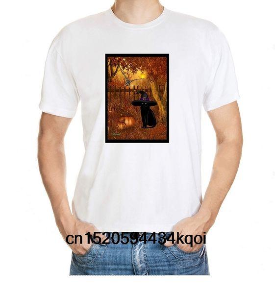 Creepy Halloween Graveyard Motif Men's 100% Cotton T-Shirt
