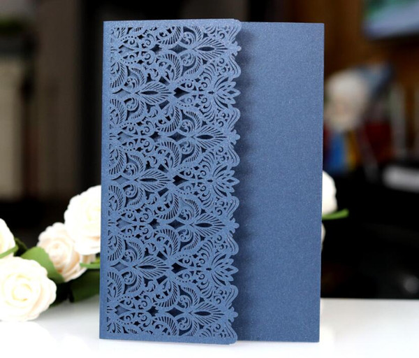 High Quality Laser Hollow Greeting Card Business Conference Invitation Wedding Party Supplies Lace Flower Waist Invitation Card Wholesale Free Digital