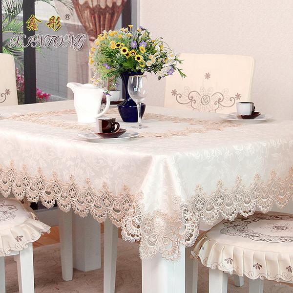 Europa lujo mantel bordado soluble en agua mantel de encaje mesa de café paño sala de estar hogar suave
