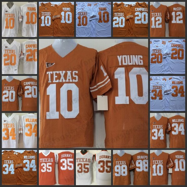 b072e3bc 2019 Texas Longhorns NCAA Mens Jerseys 10 Vince Young 34 Ricky Williams 35  Kevin Durant 12 Colt McCoy Brian Orakpo All Stitched College Jerseys From  ...