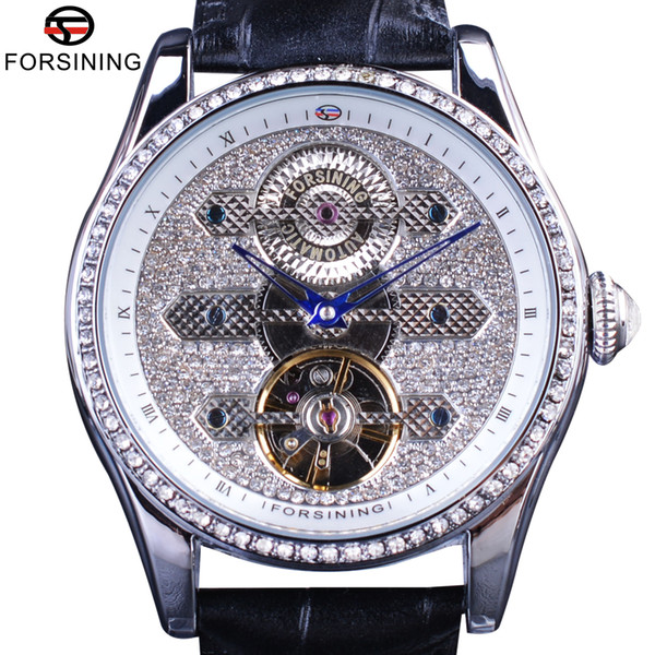 Forsining Top Brand Luxury Automatic Watches Tourbillion Diamond Design Genuine Leather Strap Waterproof Crystal Head Mens Clock SLZe82
