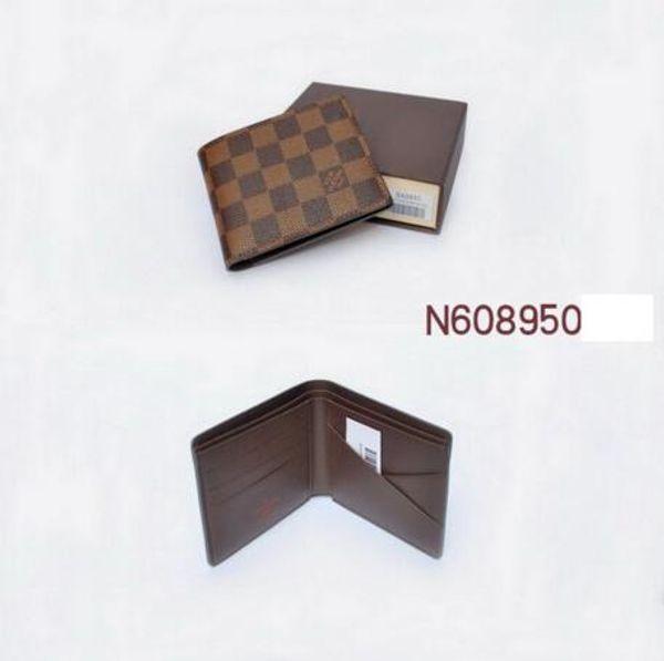 X2 L Brown billetera cuadrícula con tenedor