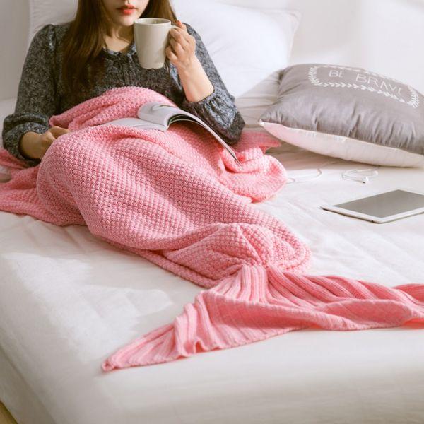 Новый Русалка хвост одеяло пряжа трикотажные ручной работы крючком Русалка одеяло дети бросить кровать Wrap Супер мягкий телевизор диван спальная кровать декор