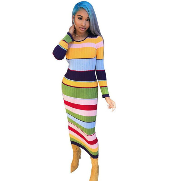 Rainbow Striped Sexy Ribbed Vestido Casual Women O Neck Long Sleeve Club Party Dress Autumn Slim Fit Bandage Maxi Dresses NZK-1693