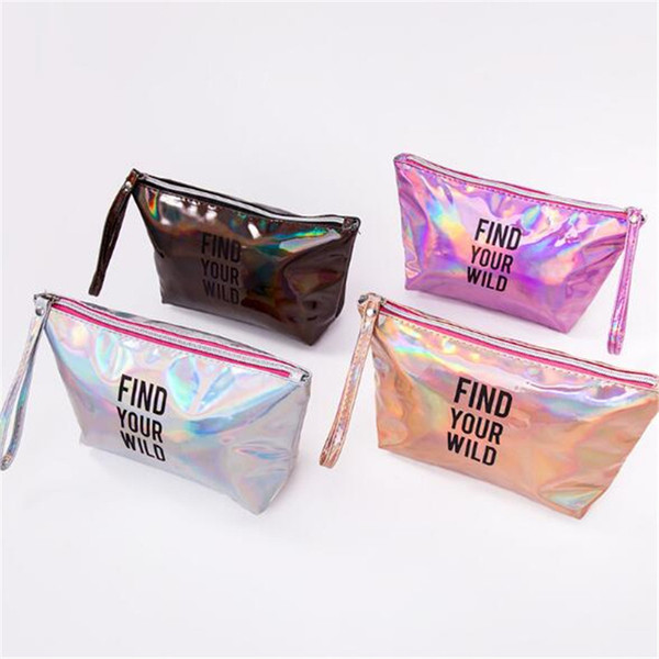 Women Colorful Laser Square Cosmetic Bag Clutch Waterproof Washing Storage Bag Portable Shiny Make-up