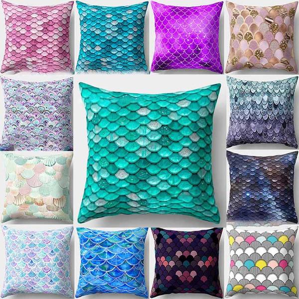 Mermaid fish scale pillowcase Cover Glamour Square Pillow Case Cushion Cover Home Sofa Car Decor Mermaid Bright Pillow Covers HH7-2020