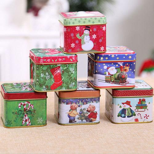 New Christmas Style Square Tin Box Biscuit Candy Case Xmas Gift Cookie Storage