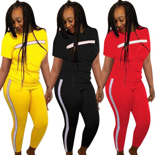 top popular Brand Designer women jogging suit Short Sleeve 2 piece set tracksuit t-shirt leggings outfits sportswear sports Striped pullover suit S-2XL 2019