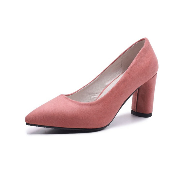 Hot Sale Womens Ladies Womens Mid Block Heel Office Work Casual Faux Suede Shoes Size Pumps S1190 US Size 4 -10