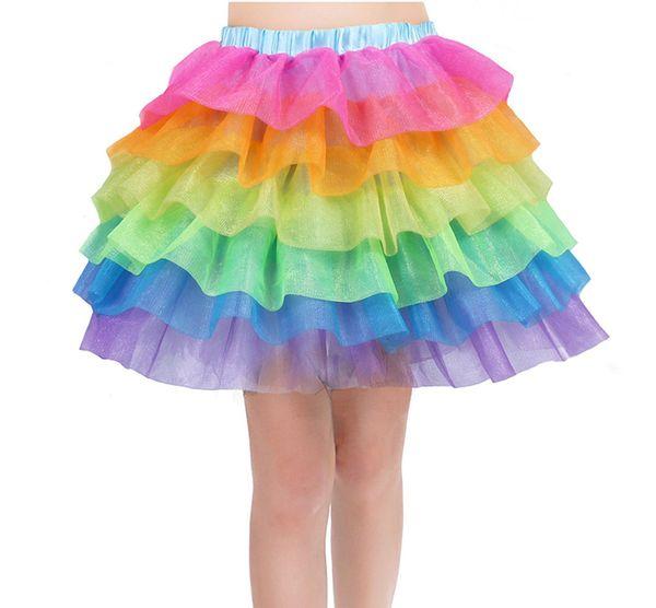 Kids Girls Rainbow Tutu Skirt Unicorn Party Tutus Baby Cake 6 layer Pettiskirt Ballet Fancy Costume dress B11