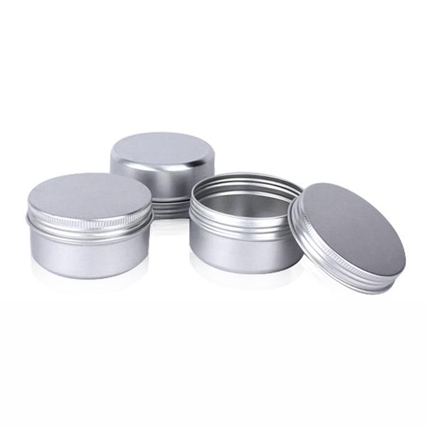60 unids 80 ml recipientes de latas de té caja de aluminio metal redondo bálsamo labial bálsamo caja de almacenamiento de contenedores con tapón de rosca para el labio