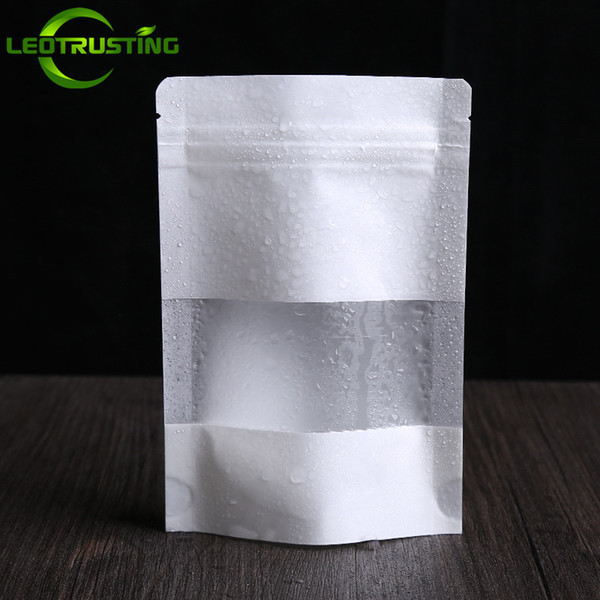 Leotrusting 50pcs/lot Thick Resealable Stand up White Paper Window Ziplock Packaging Bag Biscuits Coffee Powder Gift Paper Storage Bags