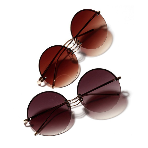 2019 retro round metal borderless hip hop clear color lens festival fashion gradient sunglasses