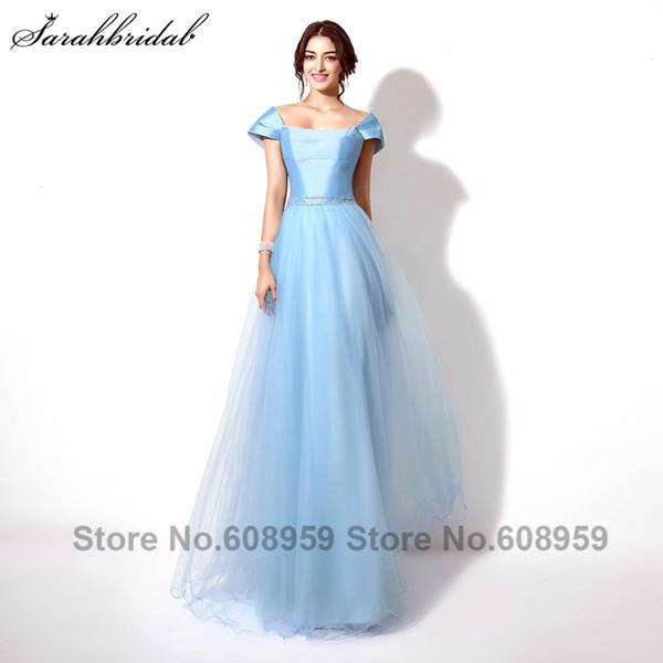 Vestido De Festa longo Moda Azul Céu Beading Longos Vestidos De Noite Elegante A Linha De Tule Até O Chão Vestidos De Baile