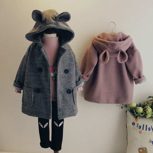 Girl's Woollen Overcoat Thick Winter Toddler Boy Coats For Kids Little Girls Placket Comfortable Keep Warm Children's Jackets