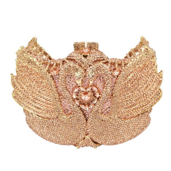New ! rainbow Swan shape Clutch bag women evening bag Luxury rainbow crystal clutch evening bags Bling Purse wedding SC041 #48830