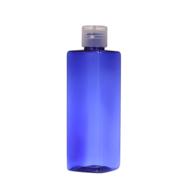 250мл Пустые пластиковые квадратные бутылки многоразового использования с откидной крышкой для шампуня лосьон W9679BL