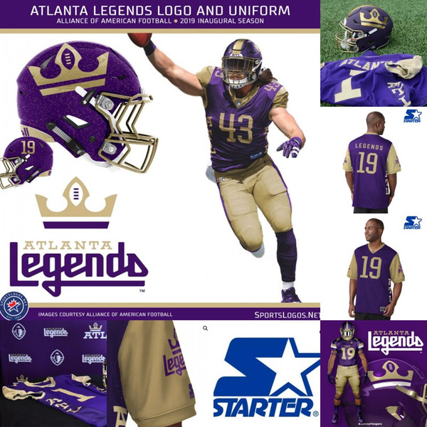 Mens Atlanta Legends Jersey 11 Aaron Murray 6 Peter Pujals 50 Jeff Luc 10 Justin Thomas 84 Bug Howard Alliance of American Football Jerseys