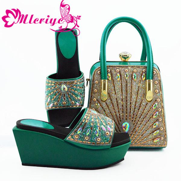 Verão Nova Chegada Teal Cor Africano Sapatos e Bolsas Para Combinar Sapatos com Saco Conjunto Correspondente Sapato Nigeriano e Saco Conjunto