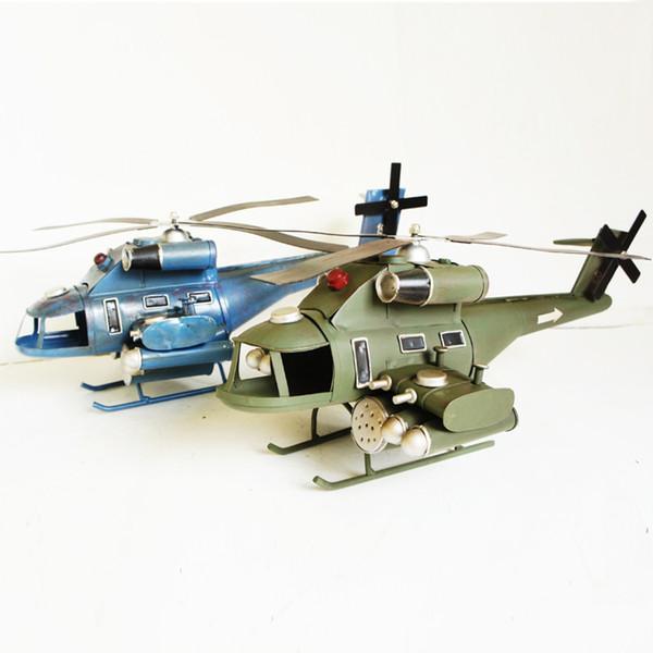 Large Metal Black Hawk Armed Helicopter Aircraft Models Airplane 2 Color Home Cafe Decoration Crafts 41*20*15cm