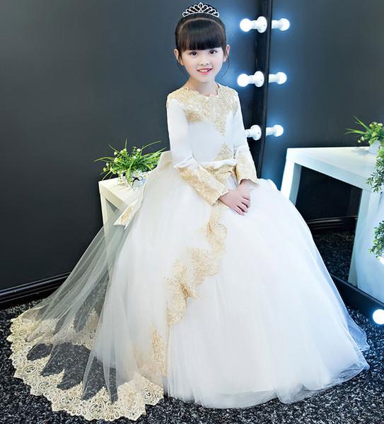 Schöne Lange Ärmel Blumenmädchenkleider Prinzessin Kleid Mädchen Festzug Kleider Brithday Hochzeit Kinder Kleider
