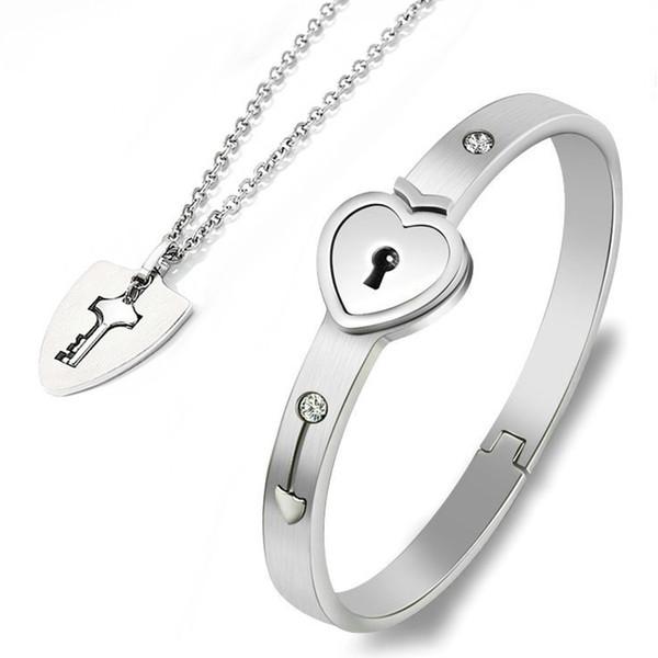 Пара браслет ожерелье набор из нержавеющей стали сердца влюбленности замка комплект ювелирных изделий FEA889