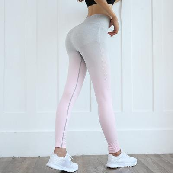 New Seamless Gradient Fitness Cintura alta Leggings deportivos Slim Yoga Pantalones Mujeres