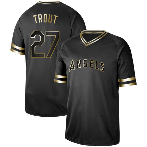 Mens Los Angeles Black Gold 17 Shohei Ohtani 27 Mike Trout 5 Albert Pujols 31 Ty Buttrey 44 Kevan Smith Kole Calhoun Angels Maglie da baseball