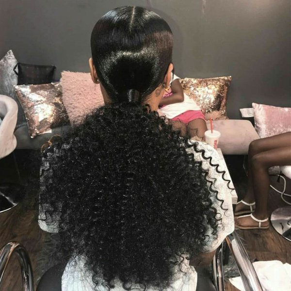 1 Piece Clip In Ponytails human hairpieces Afro Kinky Curly Ponytail For Women Natural Black Color Remy Hair 160g Free Shipping