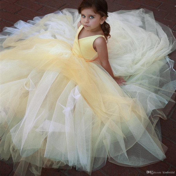 Mais novo Simples Vestidos Da Menina de Flor Princesa V Neck Tule Meninas Vestidos Formais Robes de fete Meninas Natal Pageant Vestido de Festa