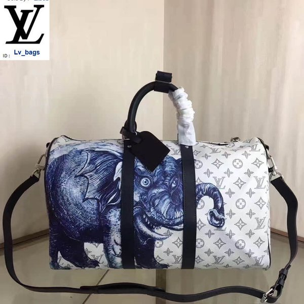 best selling Yangzizhi New M54130 Elephant Animal Print Canvas Keepall 45 Travel Bag Handbags Bags Top Handles Shoulder Bags Totes Evening Cross Body Bag