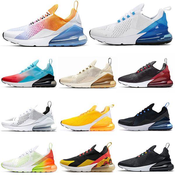Nike Air Max 270 airmax FLORAL Обувь для бега для женщин Мужская обувь SE Triple Black White RAINBOW HEEL Мужские спортивные кроссовки 36-45