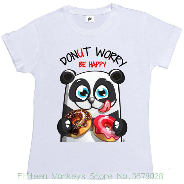 Camiseta para mujer Donut Worry Be Happy Smiling Panda con Donuts Camiseta de manga corta para mujer
