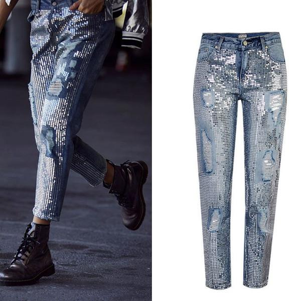 Mujeres Pantalones vaqueros rasgados desgastados Rectos sueltos Vintage Mujer Lentejuelas de mezclilla Decration Streetwear Hip Hop Pantalones TOP291 #