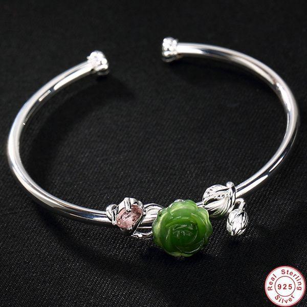 100% real 925 sterling silver floral bangles for women natural jasper flower open bangle ethnic fine jewelry green jade men women bracelet