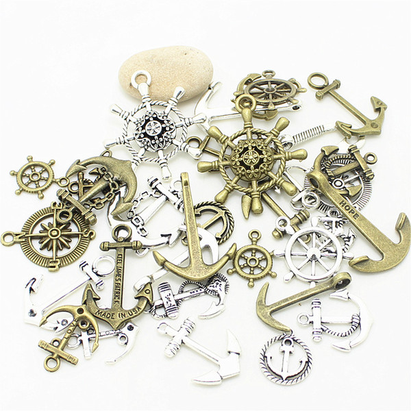 Sweet Bell 200pcs Mixed Nautical Jewelry Anchor Charms two Color Metal Zinc Alloy Trendy Mixed Anchor Pendant Charms D1021