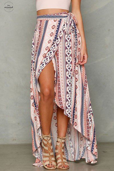 Ladies Women Summer Bandage Beach Skirt Cover Maxi Swimwear Party Long Skirt Floral Print Lace Up Womens Shirt