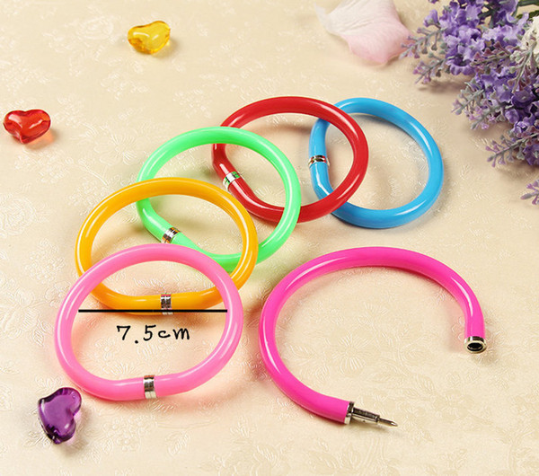 Novelty School kids gifts fashion cheap fancy peculiar new foldable Bracelet color ring Wristband Plastic Bracelet Ball Pen for Sale