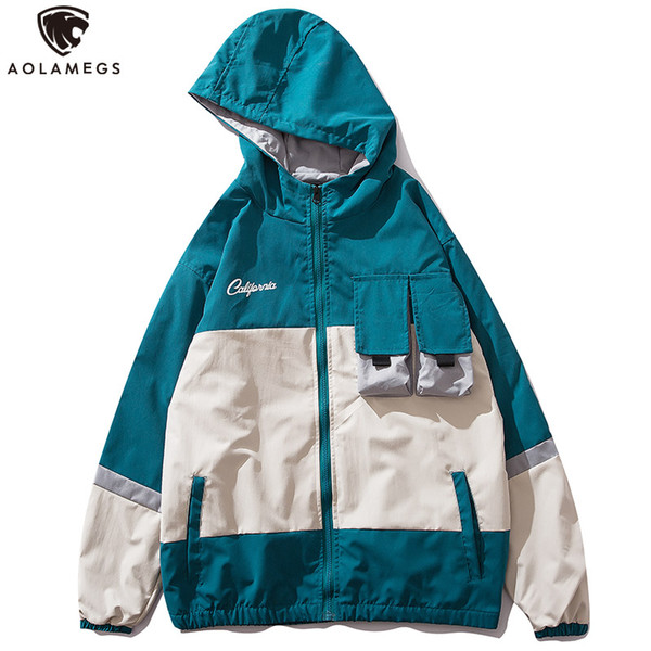Aolamegs Jackets Men Patchwork Color Hooded Jacket Tracksuit Cargo Coats College Style Multi-Pocket Hip Hop Couple Windbreaker
