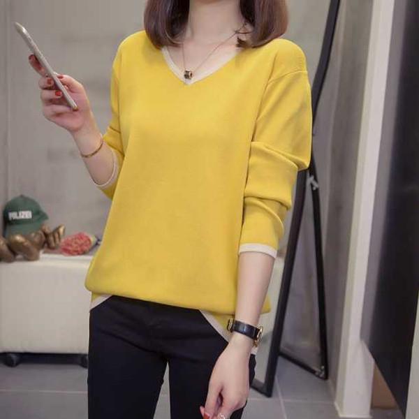 plus size v neck pullovers women simple sweaters 2020 autumn winter knit  oversize spell color loose knitwear jumper da826