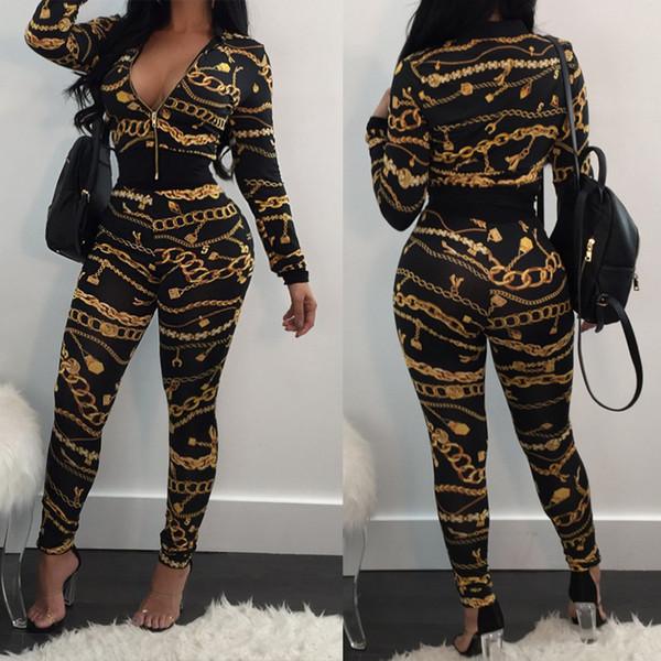 c03874b4ce 2019 Winter Women Jacket +Pants Set Gold Chain Print Tracksuit Female  Outfit Sporting Suit Crop Top Zipper Sweatsuit From Derban, $42.54 |  DHgate.Com