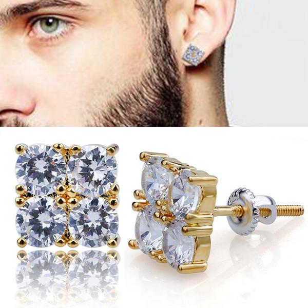 7827edf3ecae3 2019 18K Gold Hip Hop 4 Cubic Zirconias Square Stud Earrings 0.8 Cm For Men  Women Girls Diamond Earrings Studs Punk Rock Rapper Jewelry Wholesale From  ...
