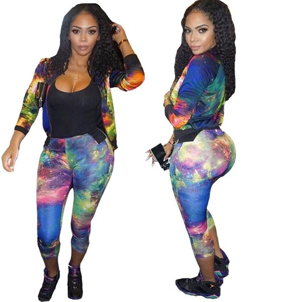 Autumn winter new arrive women Tracksuits two piece bodysuit outfit sassy print Suits overalls 2pcs Coats And Long Pants Sets