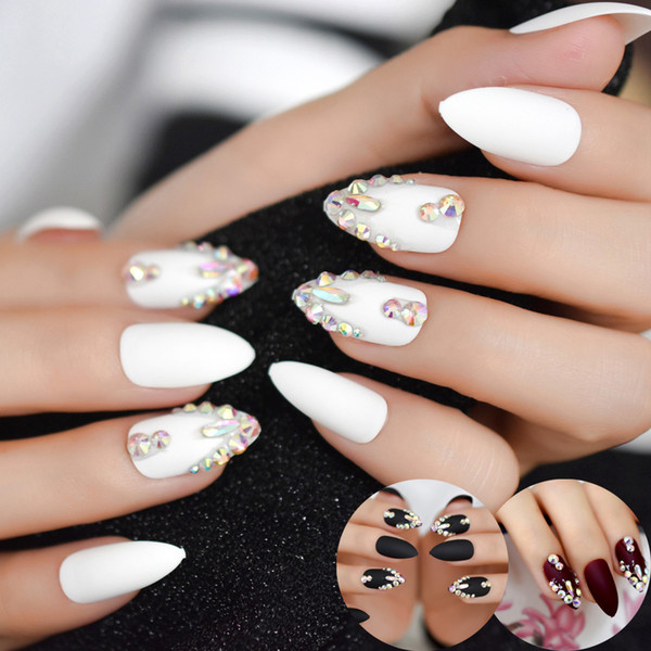 best selling 2019 mJewelly Fake Nails Custom Matte Rhinestones 3d Handmade Press On Nails Finger Nail Tips