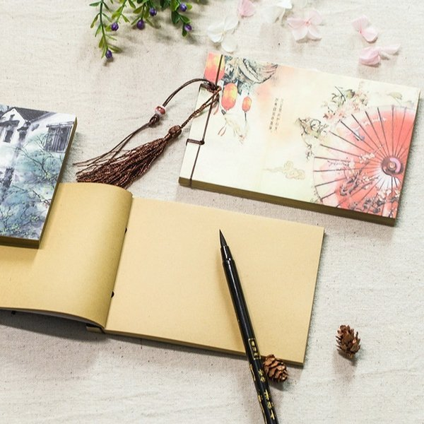 Chinese Style Tassel Retro Handmade Sketchbook Journal Notebook Diary Book Paper Notepad Weekly Planner Stationery