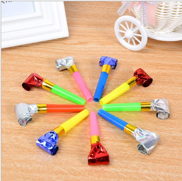 Детские игрушки дует день рождения дракона реквизит маленький дракон свистит пластиковый рог дует рулон золотой бумаги