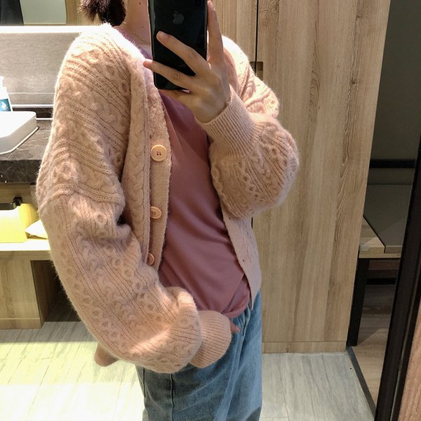 Mooirue Twist Cable Sweater Coat Flowers Knitted Cardigan Pink Blue White Loose Spring 2019 Femme Korean Style Sweater Sweater Y190923