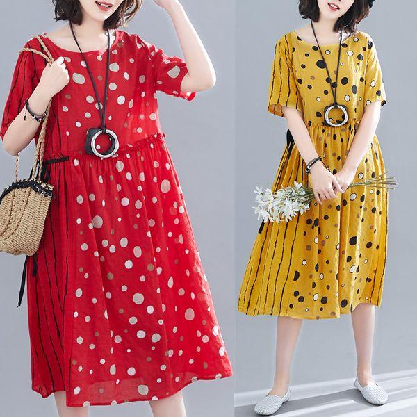 Cotton Linen Series# Women Elegant Dress Short Sleeve Patchwork Polka Dot Striped Print Unique Fashion Summer Loose Casual Dresses 8919