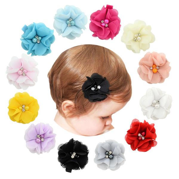 Flores do bebê Chiffon Com Pérola Strass Centro Artificial Flor Tecido Flores Crianças grampos de Cabelo R231